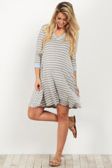 Blue Striped Colorblock Maternity Dress