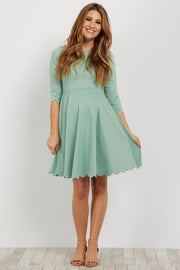 Green Scalloped Hem Maternity Dress