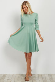Green Solid Scalloped Hem Dress