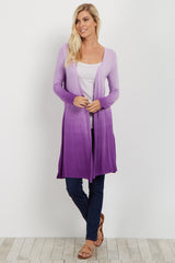 Purple Ombre Long Sleeve Cover Up