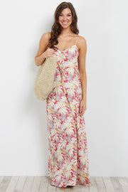 Coral Tropical Print Tie Front Maxi Dress