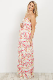 Coral Tropical Print Tie Front Maternity Maxi Dress