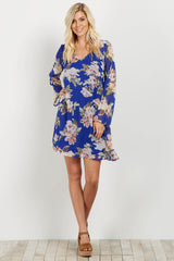 Royal Floral Chiffon Maternity Dress