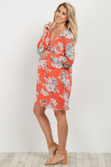 Orange Floral Chiffon Maternity Dress