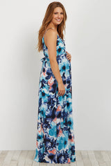 Navy Abstract Lace Up Sash Tie Maternity Maxi Dress