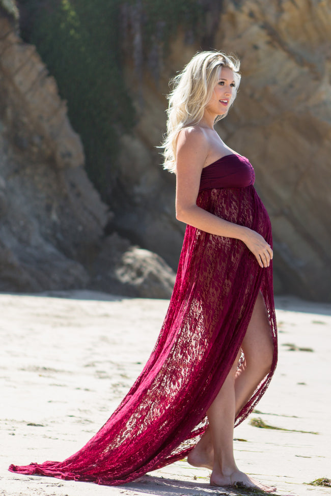 Burgundy Strapless Lace Maternity Photoshoot Gown/Dress