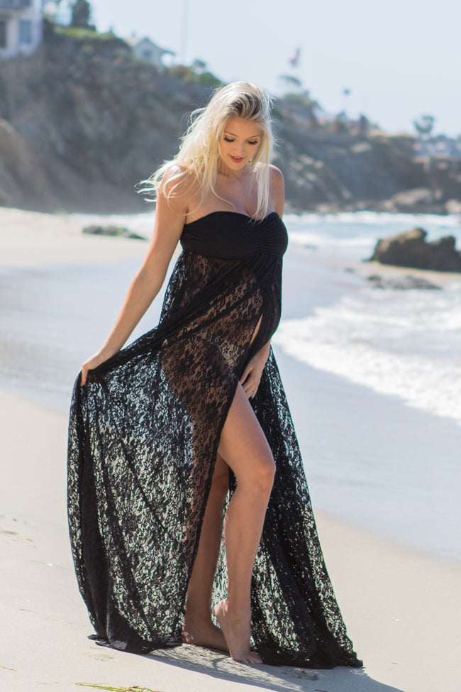 Lace maternity dress photo shoot maternity maxi wrap gown 1219