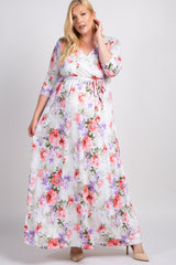 White Floral Sash Tie Plus Maternity/Nursing Maxi Dress