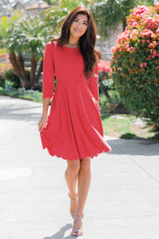Coral Solid Scalloped Hem Dress