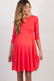 Coral Solid Scalloped Hem Maternity Dress