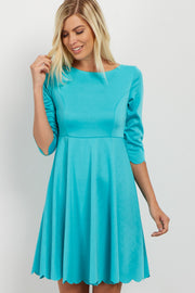 Aqua Scalloped Hem Dress