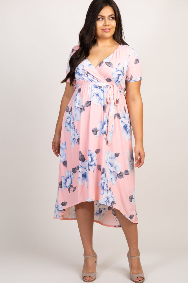 Pink Floral Hi-Low Plus Wrap Dress