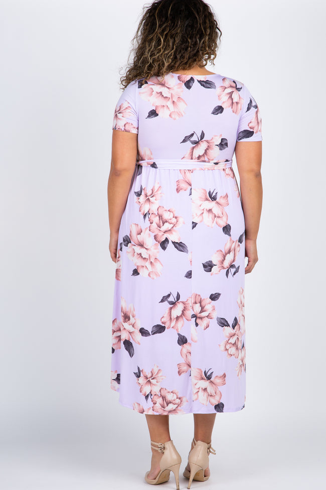 PinkBlush Lavender Floral Hi-Low Plus Maternity Wrap Dress