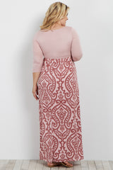 Pink Damask Bottom Plus Maternity Maxi Dress