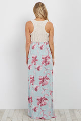 Light Blue Crochet Floral Bottom Maternity Maxi Dress