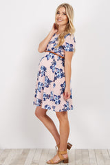 Light Pink Floral Belted Maternity Dress