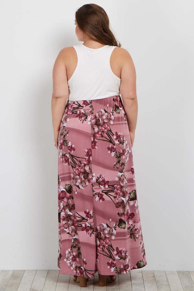 Pink Floral Bottom Plus Maternity Maxi Dress