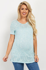 Light Blue Crochet Knit Maternity Top