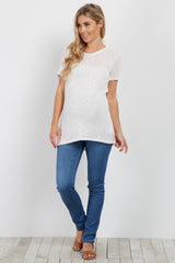 White Crochet Knit Maternity Top