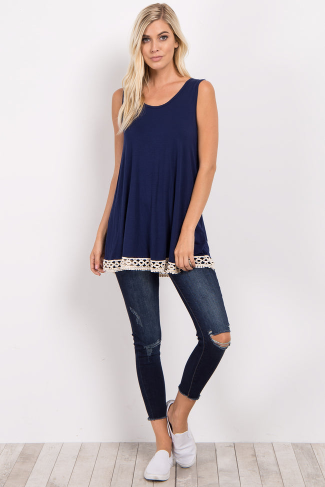 Navy Crochet Trim Tank Top