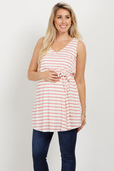 Pink Striped Ribbed Sash Tie Maternity Top