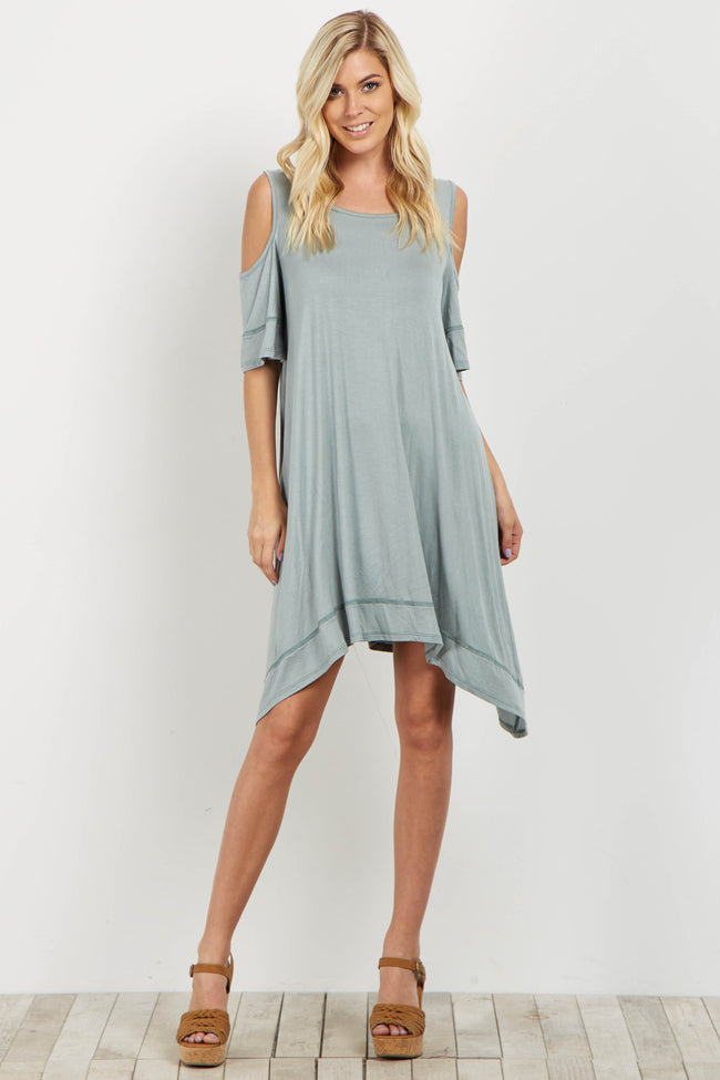 Green Cold Shoulder Asymmetrical Dress