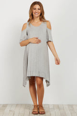 Heather Grey Cold Shoulder Asymmetrical Maternity Dress