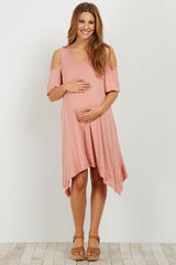 Pink Cold Shoulder Asymmetrical Maternity Dress