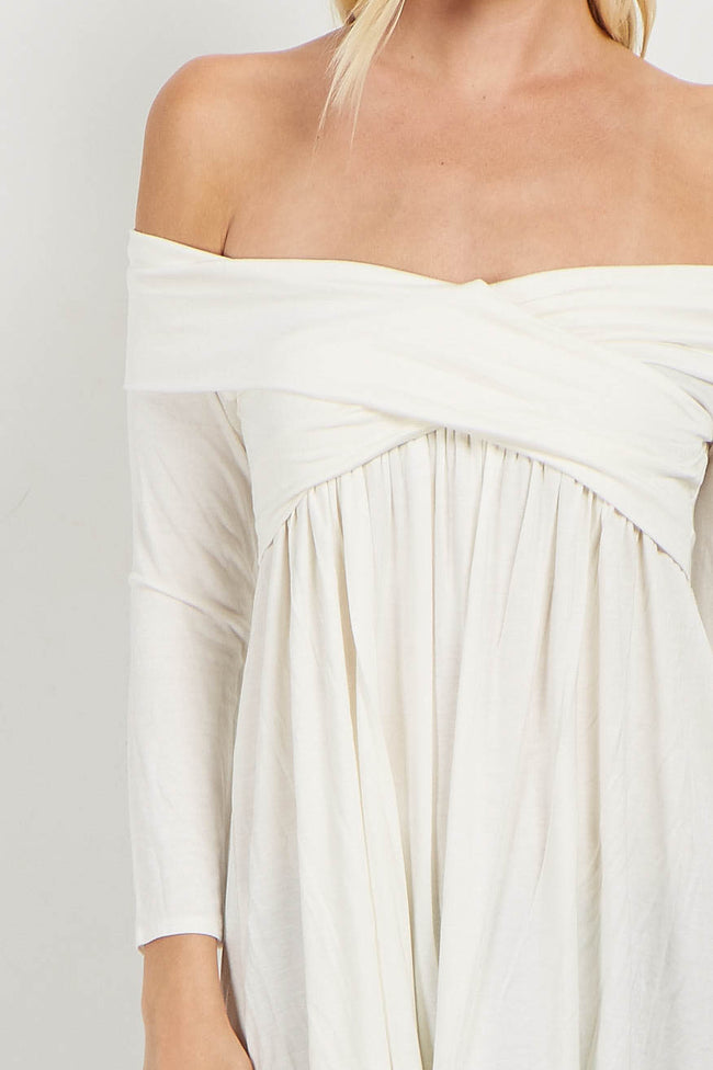 Ivory Off Shoulder Draped Bamboo Top