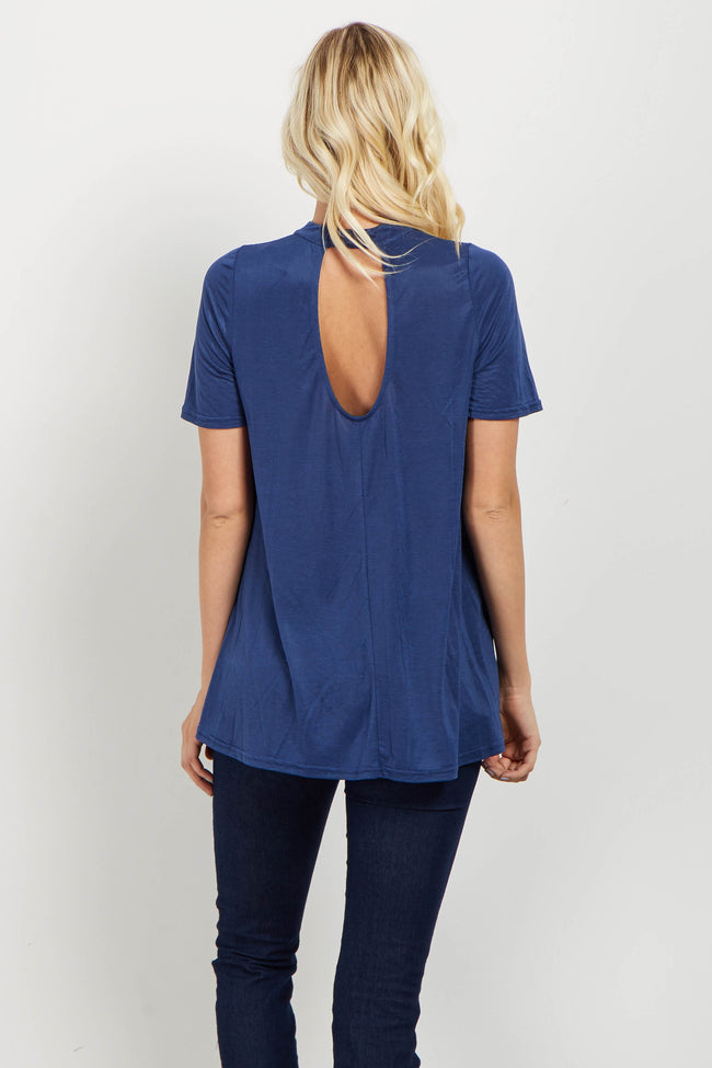 Blue Crisscross Accent Cutout Top