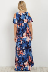 Navy Floral Cold Shoulder Maternity Maxi Dress