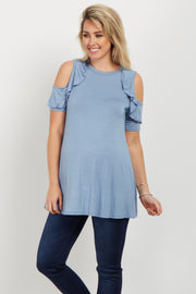 Blue Ruffle Cold Shoulder Maternity Top
