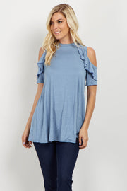 Blue Ruffle Cold Shoulder Top