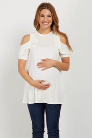 Ivory Ruffle Cold Shoulder Maternity Top