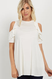 Ivory Ruffle Cold Shoulder Top