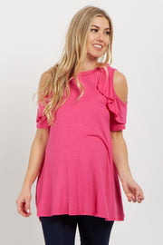 Pink Ruffle Cold Shoulder Maternity Top