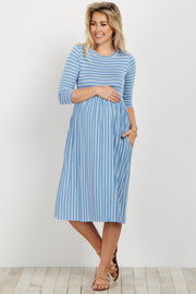 Blue Striped 3/4 Sleeve Maternity Dress