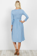 Blue Striped 3/4 Sleeve Dress
