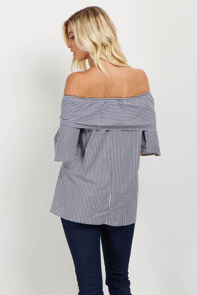 Navy Striped Tie Front Off Shoulder Top
