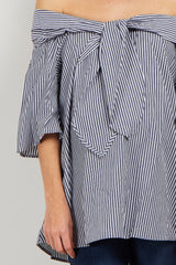 Navy Striped Tie Front Off Shoulder Maternity Top