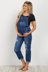 Blue Destroyed Denim Maternity Overalls