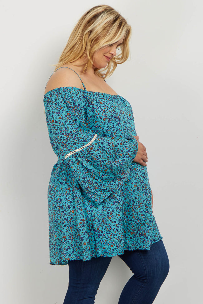 Turquoise Floral Open Shoulder Plus Maternity Top