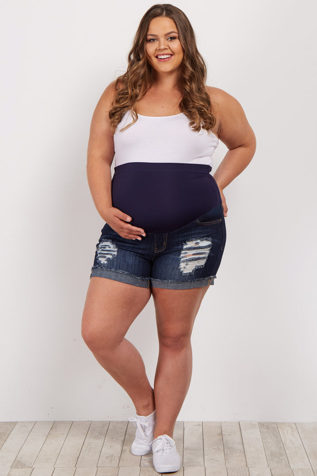 Navy Distressed Cuffed Plus Maternity Jean Short