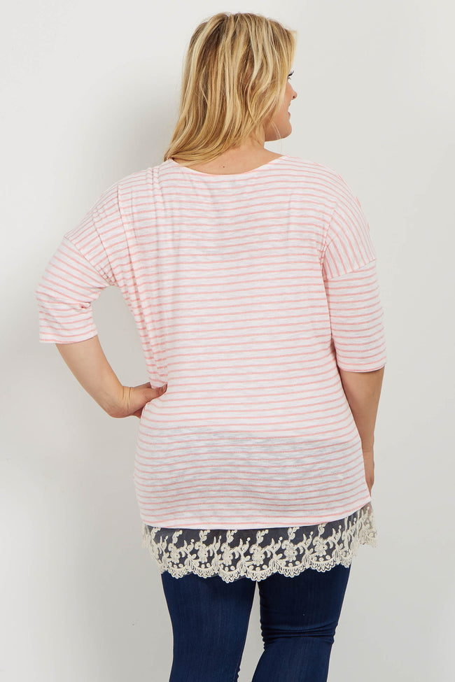 Pink Striped Crochet Trim Plus Maternity Top