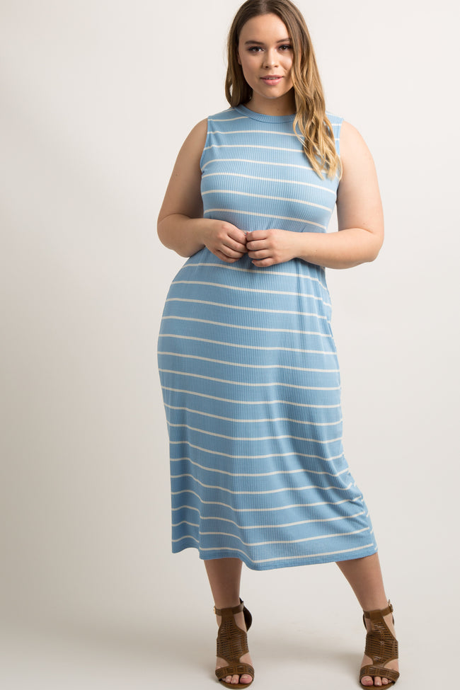 Blue Striped Ribbed Plus Maternity Midi Dress