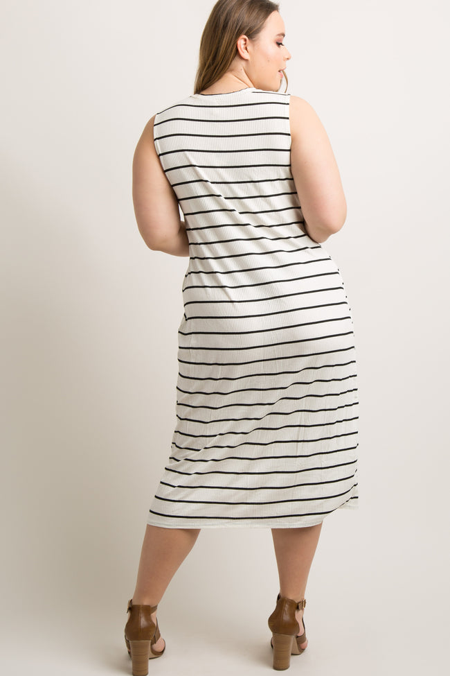 White Striped Ribbed Plus Midi Dress