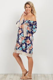Navy Floral Crochet Trim Off Shoulder Maternity Dress