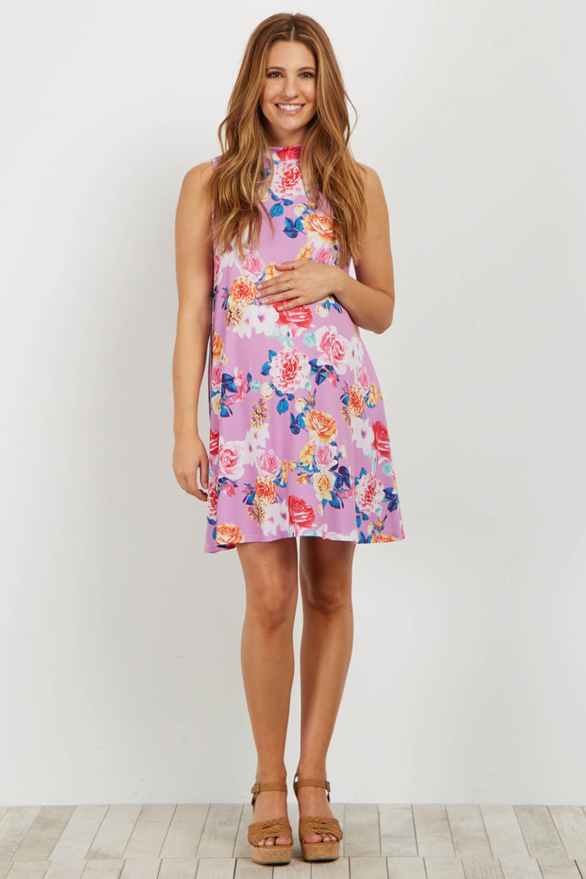 Lavender Floral Mock Neck Maternity Dress