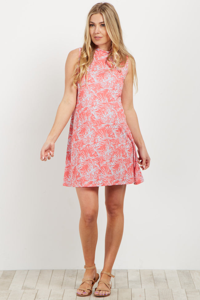 Coral Tropical Print Mock Neck Maternity Dress