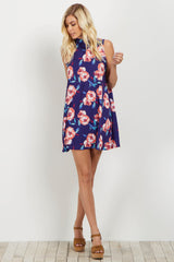 Navy Floral Mock Neck Maternity Dress